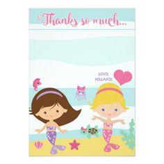 Mermaid Party / Mermaid Birthday Thank You Card