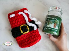 Crochet Gift Holiday Crochet Candle Cozies - This shop has been compensated by Collective Bias, Inc. and its advertiser. All opinions are mine alone. Crochet Christmas Ornaments, Christmas Crochet Patterns, Holiday Crochet, Christmas Crafts, Christmas Ideas, Christmas Decorations, Christmas Tables, Nordic Christmas, Christmas Things