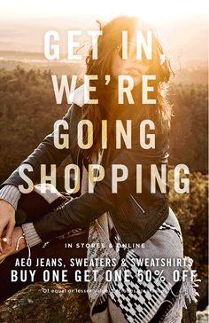 On Wednesdays we wear BOGO 50% off jeans, sweaters & sweatshirts  https://freshpickeddeals.com/ae.com/on-wednesdays-we-wear-bogo-50-off-jeans-sweaters-sweatshirts-636575