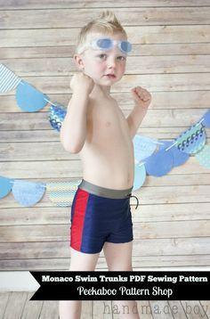 Monaco Swim Trunks PDF Sewing Pattern! Boy Swimsuit Sewing Pattern #PeekabooPatternShop #BoySwimSuitPattern