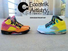 bb659312ad12 Summer Love Air Jordan V s by Ecentrik Artistry.  customairjordans   customshoes  summer