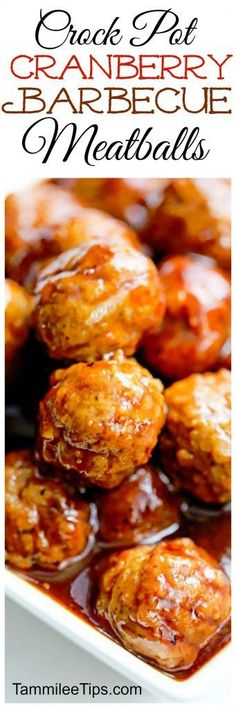 This crock pot cranberry barbecue meatball appetizer recipe is perfect for Super Bowl Football parties or New Years! So easy to make in the slow cooker! Great for a crowd and leftovers make a great sandwich.