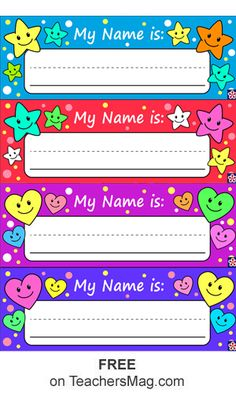These free printable name tags are great for using with your preschool students! They are colorful and feature hearts or stars that are sure to delight all of your kids. Kindergarten Name Tags, Preschool Name Tags, Classroom Name Tags, Student Name Tags, Desk Name Tags, Name Tag For School, School Name Labels, Book Labels, Kids Labels