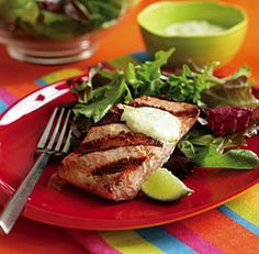 Grilled salmon with wasabi-ginger mayonnaise