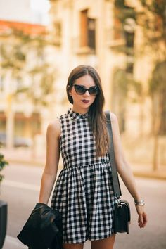 9ad679f54ad Nanys Klozet checks out in our Gingham Smock Playsuit in Monochrome Fashion  Tips