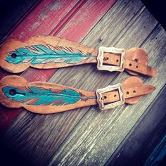 Tooled Feather spur straps