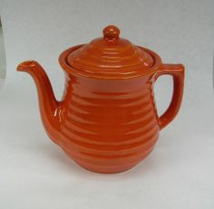 Bauer Pottery Ring Ware Orange Coffee Pot Server with Lid
