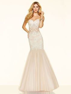 Trumpet/Mermaid Sleeveless Sweetheart Beading Tulle Sweep/Brush Train Dresses http://www.sheadline.com  http://www.sheadline.com/index.php/prom-dresses.html