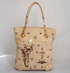 Louis Vuitton Embossed Leather Japanese Comic Handbag Cream