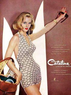 1957 Catalina vintage swim suit ad Ann Klem bathing suit, swimwear