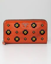 PRADA Orange Floral Applique Zip Wallet