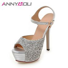 Original Intention Women Sandals Glitter Open Toe Thin Heels Sandals  Elegant White Silver Shoes Woman Plus US Size 10e952527ed