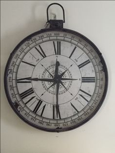 Simply White.. oversized clock compass wall art