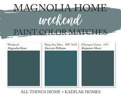 Kadilak Homes Blog. Real Estate & Home Renovation Burlington MA. Blue Green Paints, Green Paint Colors, Green Color Schemes, Dark Blue Green, House Color Schemes, Magnolia Paint Colors, Fixer Upper Paint Colors, Magnolia Homes Paint, Matching Paint Colors