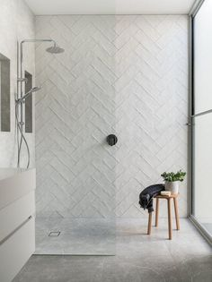 Gorgeous step in shower with handmade fire clay subway tile laid in a herringbone pattern. Melissa Lunardon Gorgeous step in shower with handmade fire clay subway tile laid in a herringbone pattern. Bathroom Renos, Bathroom Renovations, Home Renovation, Bathroom Ideas, Bathroom Inspo, Remodel Bathroom, Bathroom Organization, Bathroom Accesories, Bathroom Makeovers