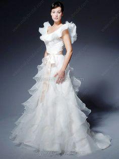 A-line V-neck Organza Sweep Train Sashes / Ribbons Wedding Dresses