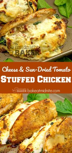 Best Tomato Recipes Tender chicken breast stuffed with rich cheese and sun-dried tomatoes. Easy to make. Easy Stuffed Chicken Recipes, Baked Stuffed Chicken, Leftover Chicken Recipes, Easy Baked Chicken, Baked Chicken Breast, Turkey Recipes, Turkey Dishes, Easy Cooking, Cooking Recipes