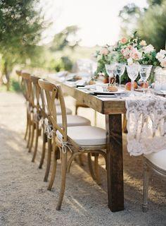 Table Decor -- Lace Runner -- Rustic Elegance -- See the wedding on Style Me Pretty: http://www.StyleMePretty.com/2014/03/12/al-fresco-wedding-in-santa-ynez/ Jose Villa Photography | Wedding Planner: Alexandra Kolendrianos