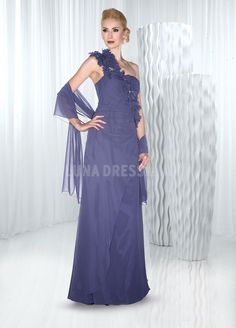 37fab7c1959 Chiffon A line Floor Length One Shoulder Mother of the Bride Dress With A  Shawl