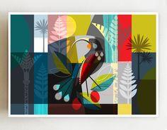 Landscape New Zealand Huia bird print Nz Art, Yellow Art, Zentangle Patterns, Bird Prints, Graphic Illustration, Etsy, Colorful Backgrounds, New Zealand, Vibrant Colors