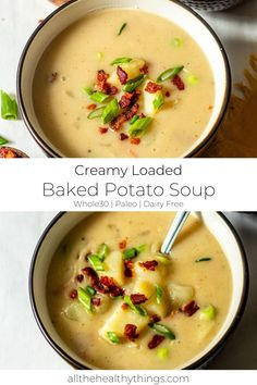 This healthy soup is hearty, warm, comforting without any cream or cheese. It is completely dairy-free, thick and creamy, and filled with tender potatoes, crisp bacon, and green onions and gives you all of the flavor of a loaded steakhouse baked potato while also being incredibly simple and easy to make. It is also Whole30 compliant, Paleo-friendly and gluten-free! #whole30recipes #healthyrecipes #soup #dairyfreerecipes