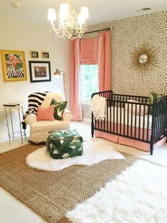 A Palm Beach Inspired Nursery – Bower Power A Palm Beach Inspired Nursery Love the animal print with the coral and the star burst mirror. When can this be my rooM! The Glam Pad: A Palm Beach Inspired Nursery Baby Room Decor, Nursery Room, Girl Nursery, Girls Bedroom, Nursery Decor, Nursery Ideas, Leopard Baby Nursery, Animal Print Nursery, Black Crib Nursery