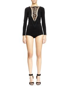 Givenchy V-Seamed Lace-Up Bodysuit, Black Top Reviews
