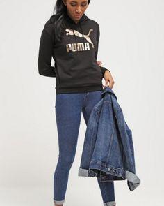Puma Bluza z kapturem czarna ze złotym logo black