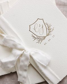wedding monogram on lovely stationery made with vintage paper