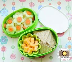 floral bento, afternoon nutrition break - cucumbers, carrots, cheese, triscuit crackers