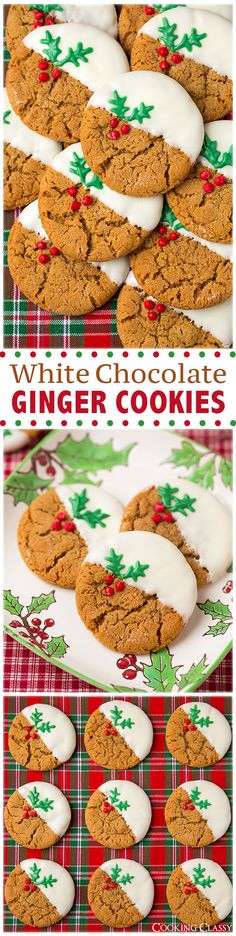 White Chocolate Dipped Ginger Cookies (soft and chewy) - These cookies are a new holiday favorite! White Chocolate Dipped Ginger Cookies (soft and chewy) - These cookies are a new holiday favorite! Christmas Sweets, Christmas Cooking, Noel Christmas, Christmas Goodies, Holiday Baking, Christmas Desserts, Christmas Candy, Christmas Chocolates, Italian Christmas