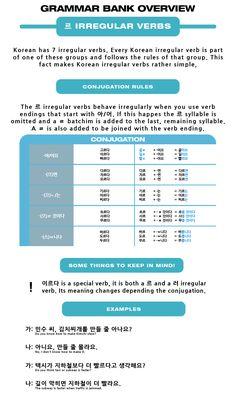Korean Language Bank Overview: ㄷ Irregular Verbs via Korean Verbs, Korean Phrases, Korean Text, Study Japanese, Japanese Kanji, Learning Japanese, Korean Lessons, Korean Language Learning, Irregular Verbs