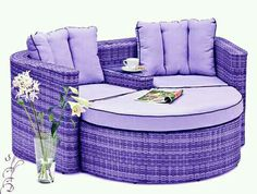 I would love this in my patio but maybe not purple Purple Love, Purple Hues, All Things Purple, Shades Of Purple, Purple Stuff, Purple Furniture, Cool Furniture, Outdoor Furniture, Color Lila