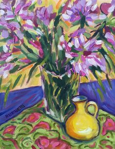 "Cleome Flowers Impressionist Still Life Original Oil on Canvas 11 x 14"" Laurie…"