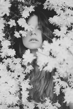 Peeking through the flowers. The black & white really makes them pop and gives a 60s edge
