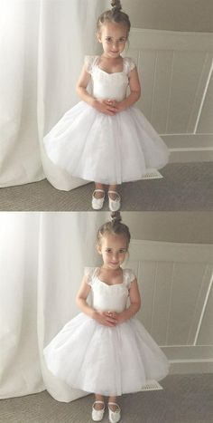 White Sleeveless A Line Short Flower Girl Dresses With Lace Prom Dresses Online, Cheap Prom Dresses, Dresses For Sale, Inexpensive Wedding Dresses, Affordable Bridesmaid Dresses, Little Girl Dresses, Flower Girl Dresses, A Line Shorts, Little Princess