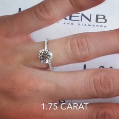 1.75 carat round in our RS-122 #micropave wrap design. This is a popular carat weight for many because it provides enough of a visual size difference from a 1.5 carat and comes without the price tag of a 2 carat . Stay tuned to our next post for a new version of this popular ring