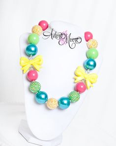 Summer Bows Kids Necklace Chunky Necklace by AdoreMooreBoutique, $20.00