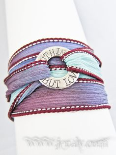 Yoga Silk Wrap Bracelet with Custom Stamped Washer  by Jeraly, $26.00