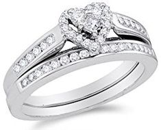 10K White Gold Diamond Ladies Bridal Engagement Ring with Matching Wedding Band Two 2 Ring Set – Halo Heart Shape Center Setting w/ Channel Set Princess Cut & Round Diamonds – (.55 cttw)
