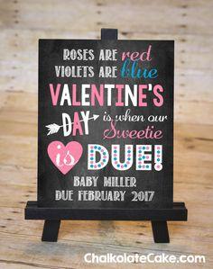 VALENTINE'S DAY Pregnancy Announcement by ChalkolateCake on Etsy