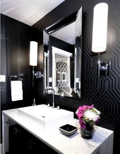 Black Wallpaper Bathroom.