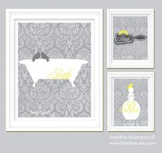 Yellow and Gray Bathroom Art Set - Bird on Bathtub, Brush and Perfume - One 8x10 and Two 5x7 Art Prints. $44.95, via Etsy.