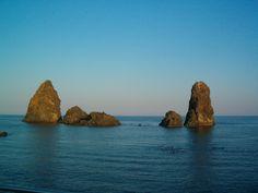 Acitrezza (CT) - I Faraglioni, secondo la leggenda sono i massi scagliati da Polifemo - according to Homer, those are the famous Polyphem's throwned stones.