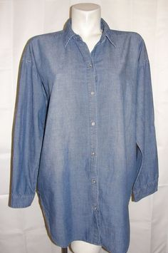 Chico's Top Women's Size 2 Large Blue 100% Denim Long Sleeve Button Jean Shirt #Chicos #Blouse #CasualCareer