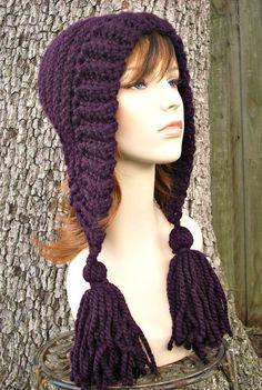 Womens Crochet Hat Womens Hat Crochet Hood Tassel Hat in