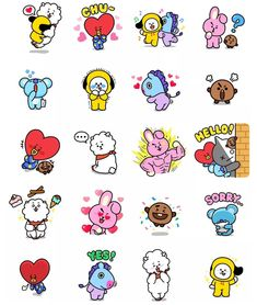 Funny Drawings, Bts Drawings, Kawaii Stickers, Cute Stickers, Printable Stickers, Planner Stickers, Bt 21, Tumblr Stickers, Line Friends