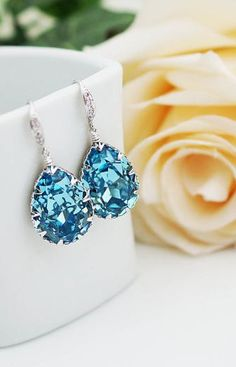 i love these. Just in case anyone is looking at my pinterest for a late christmas present I WANT THESE Fancy Earrings, Blue Earrings, Topaz Earrings, Teardrop Earrings, Sparkly Jewelry, I Love Jewelry, Wedding Jewelry, Jewelry Box, Bridesmaid Earrings