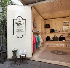 The Monocle x ZOE Summer Shop in the courtyard of ZOE's menswear store in Pietrasanta, Italy  That's quite a variety of merchandise in a clever little space! PopUp Republic