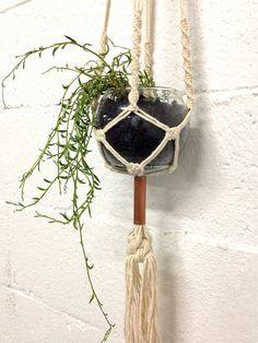 macramé hanging planter / cotton and copper by ShopNicoleMusgrave